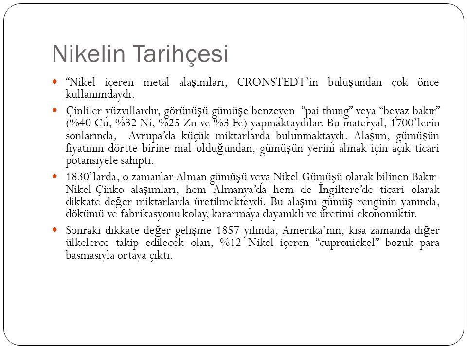 Nikelin Tarihçesi Nikel içeren metal alaşımları, CRONSTEDT'in buluşundan çok önce kullanımdaydı.