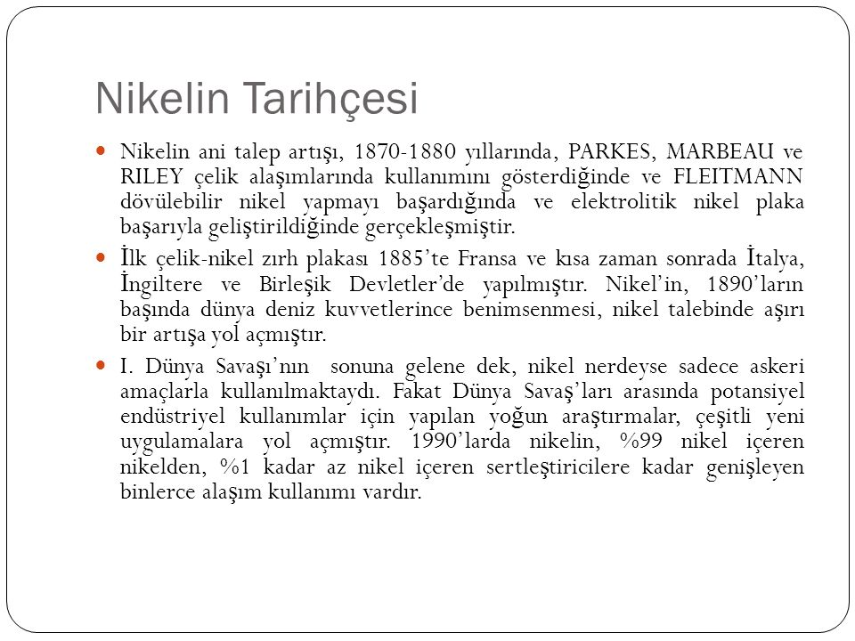 Nikelin Tarihçesi
