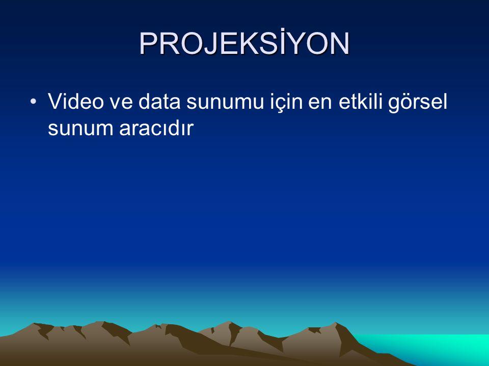 PROJEKSİYON Video ve data sunumu için en etkili görsel sunum aracıdır