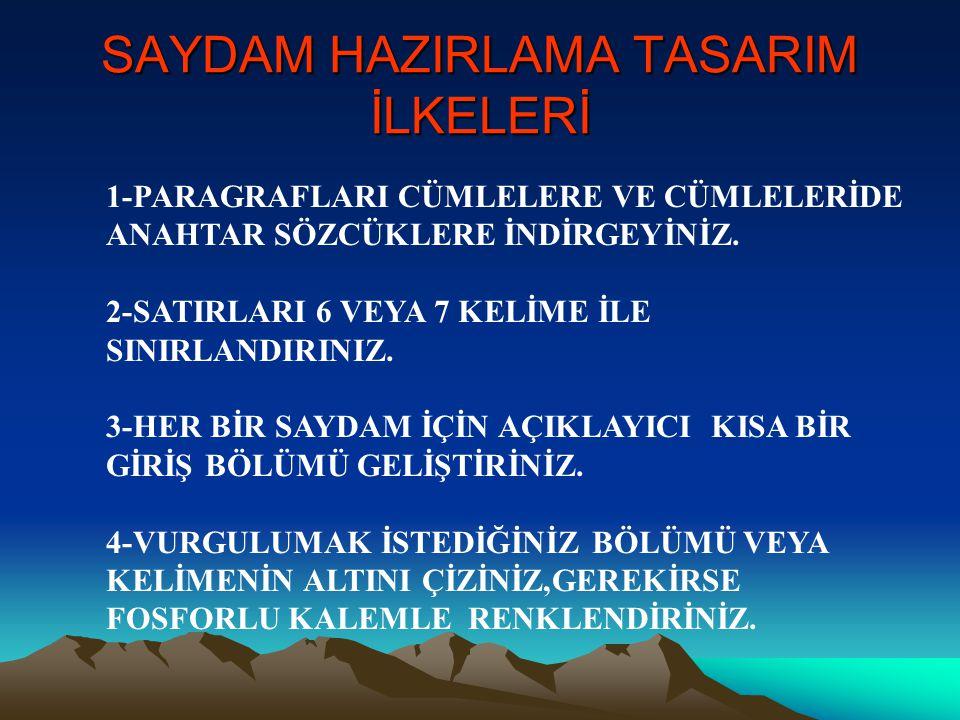 SAYDAM HAZIRLAMA TASARIM İLKELERİ