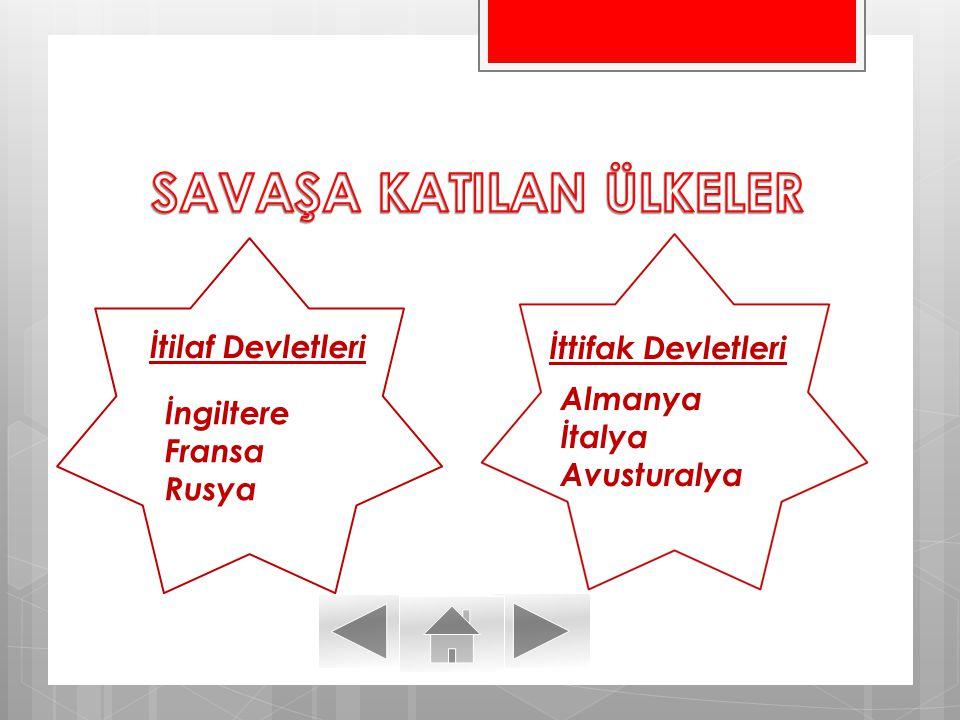 SAVAŞA KATILAN ÜLKELER