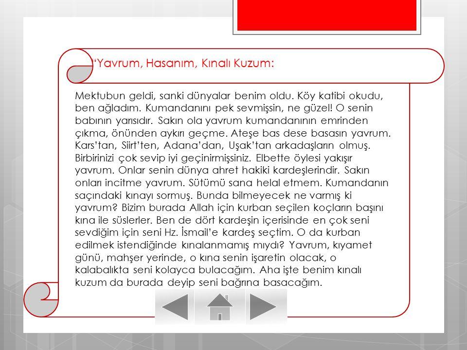 Yavrum, Hasanım, Kınalı Kuzum: