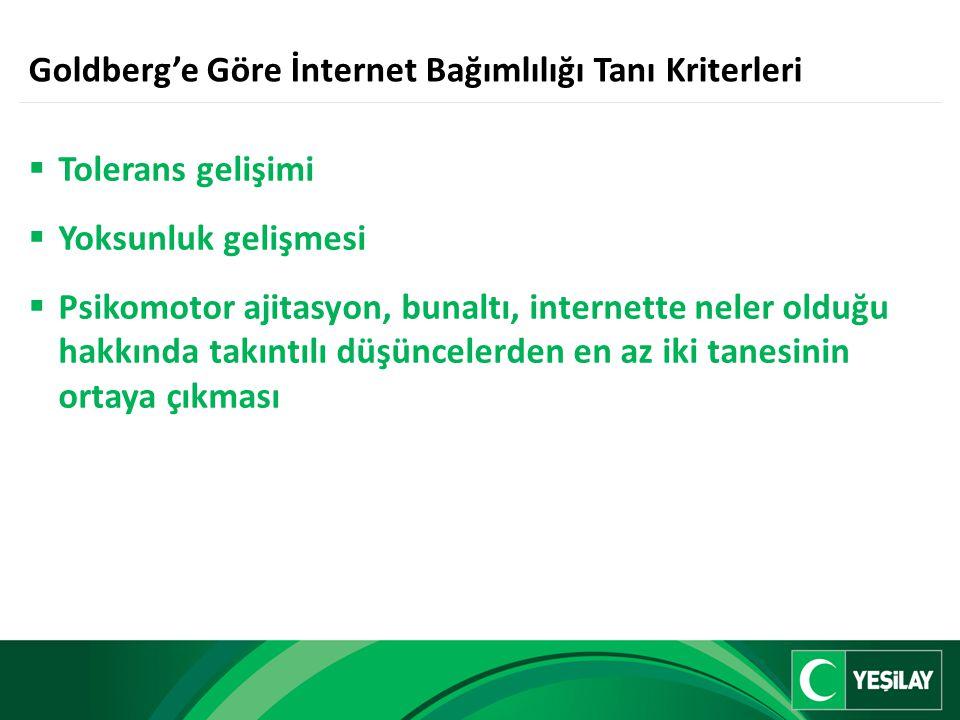Goldberg'e Göre İnternet Bağımlılığı Tanı Kriterleri