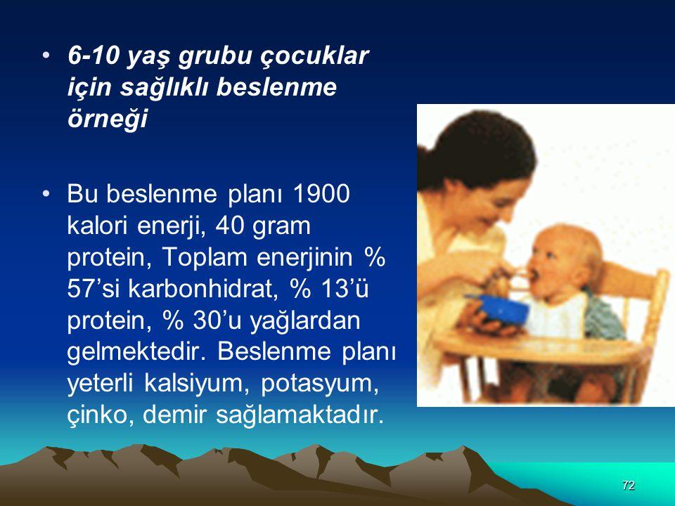 6-10 yaş grubu çocuklar için sağlıklı beslenme örneği