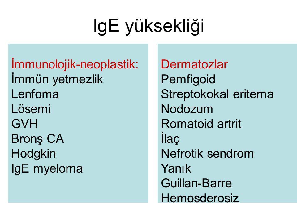 IgE yüksekliği İmmunolojik-neoplastik: İmmün yetmezlik Lenfoma Lösemi