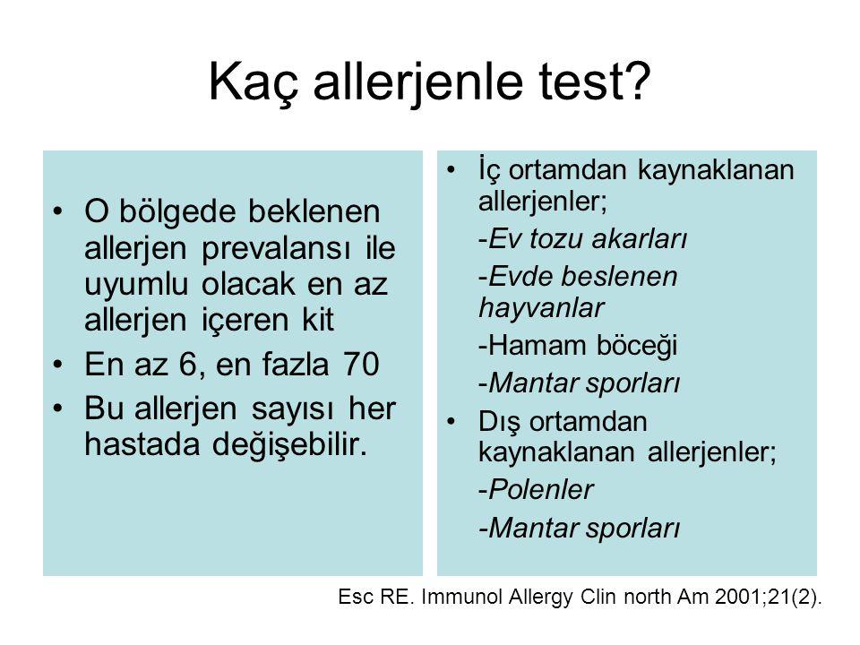 Kaç allerjenle test O bölgede beklenen allerjen prevalansı ile uyumlu olacak en az allerjen içeren kit.