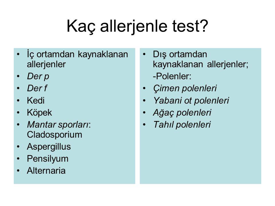 Kaç allerjenle test İç ortamdan kaynaklanan allerjenler Der p Der f