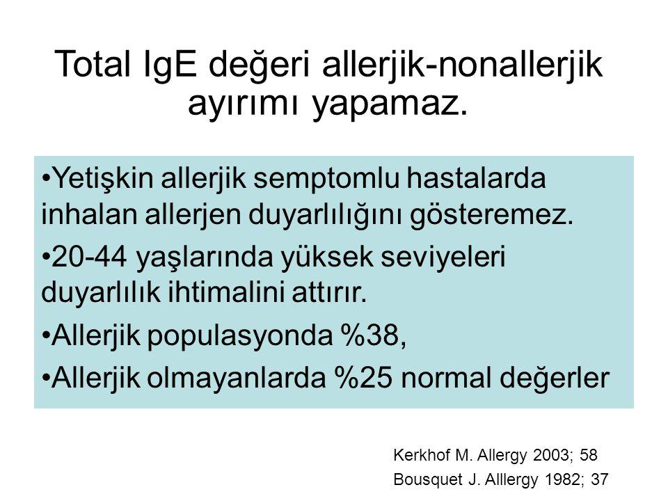 Total IgE değeri allerjik-nonallerjik ayırımı yapamaz.
