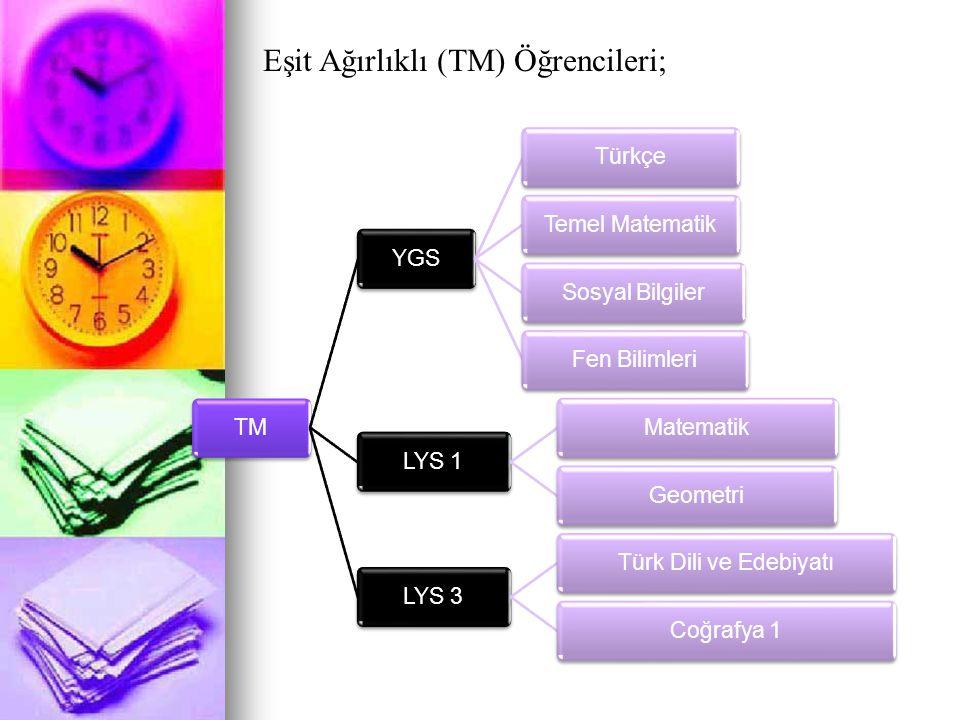 Eşit Ağırlıklı (TM) Öğrencileri;