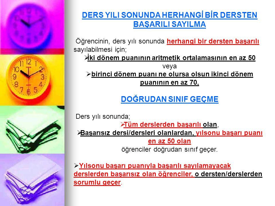 DERS YILI SONUNDA HERHANGİ BİR DERSTEN