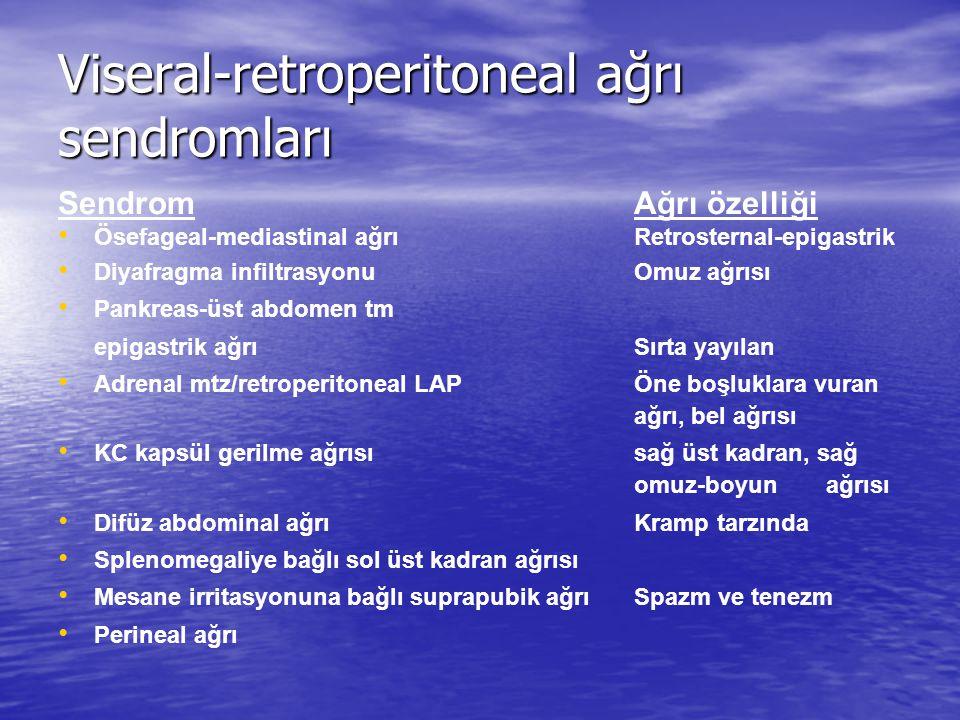 Viseral-retroperitoneal ağrı sendromları