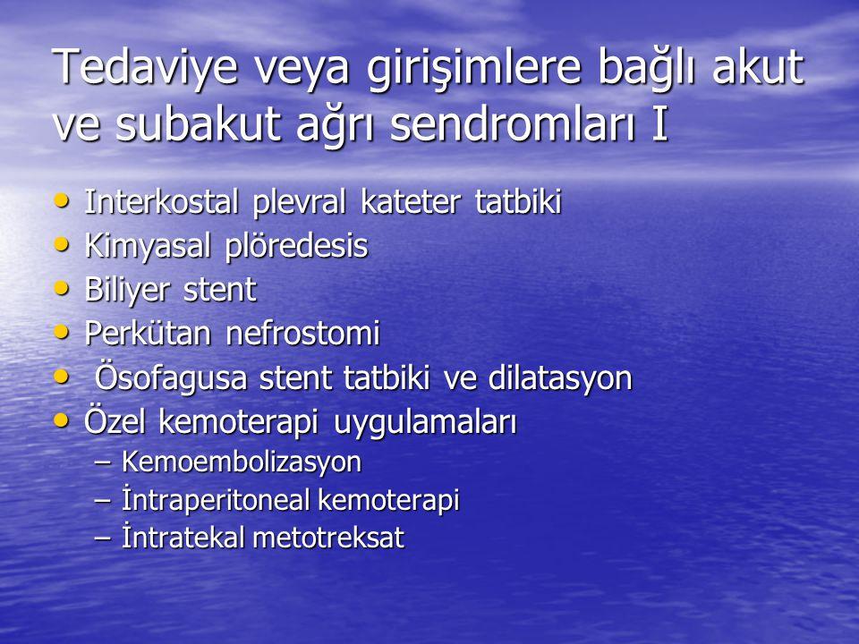 Tedaviye veya girişimlere bağlı akut ve subakut ağrı sendromları I