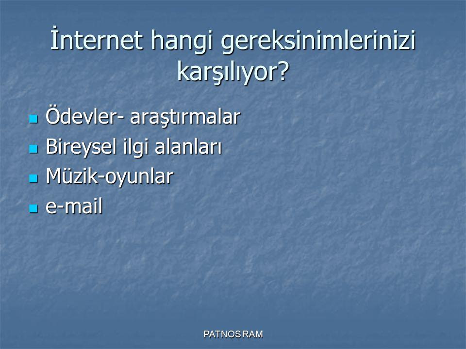 İnternet hangi gereksinimlerinizi karşılıyor