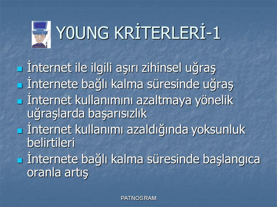 Y0UNG KRİTERLERİ-1 İnternet ile ilgili aşırı zihinsel uğraş