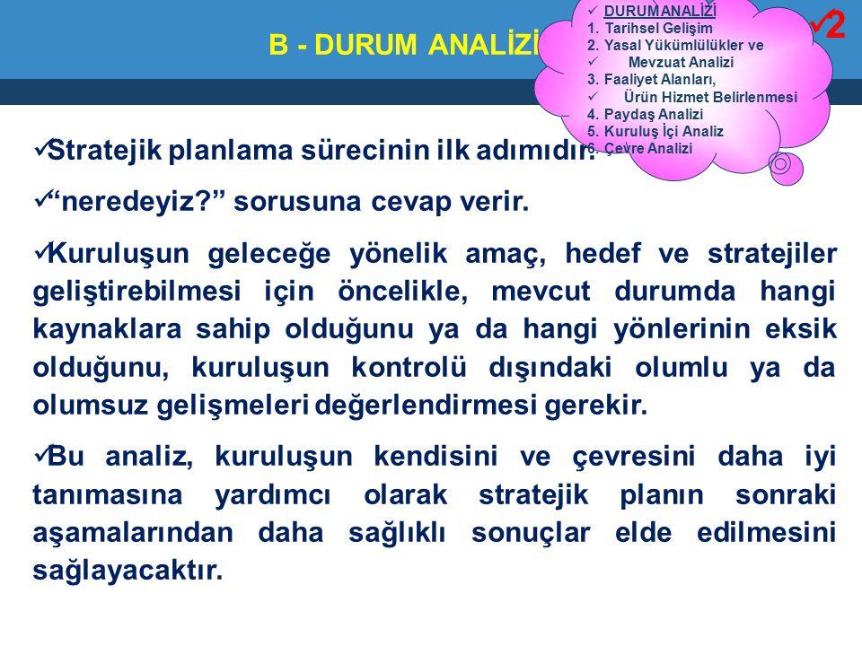 2 B - DURUM ANALİZİ Stratejik planlama sürecinin ilk adımıdır.