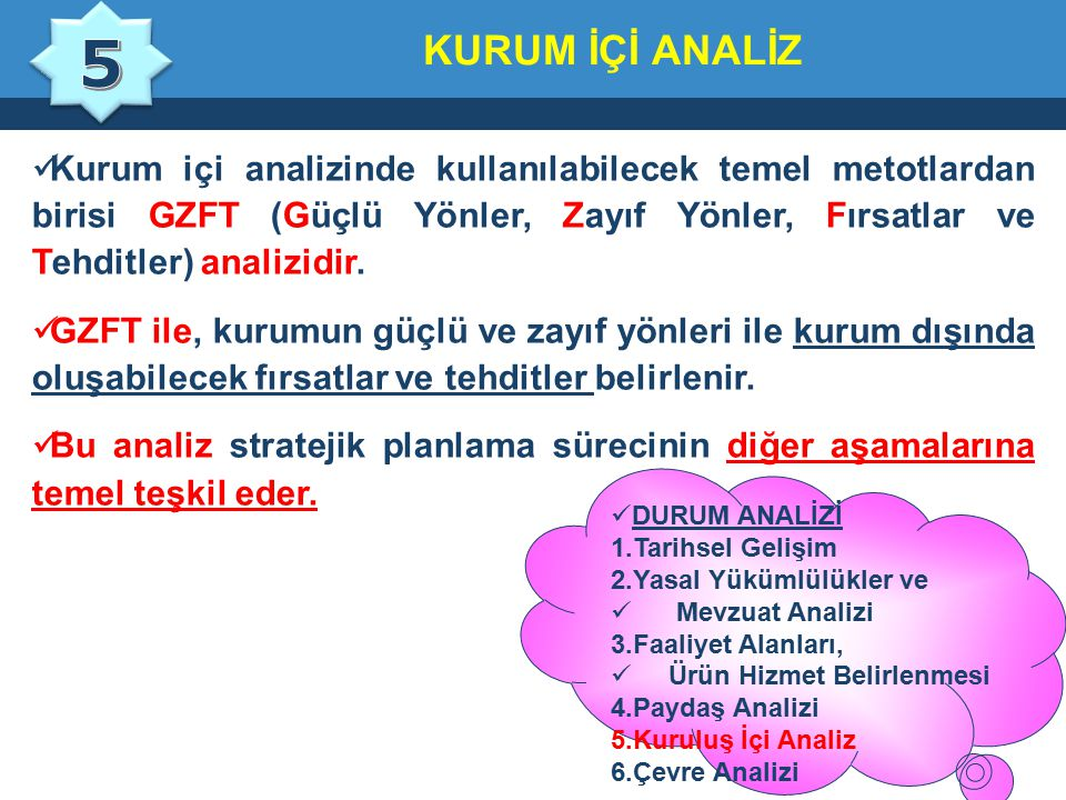 5 KURUM İÇİ ANALİZ.