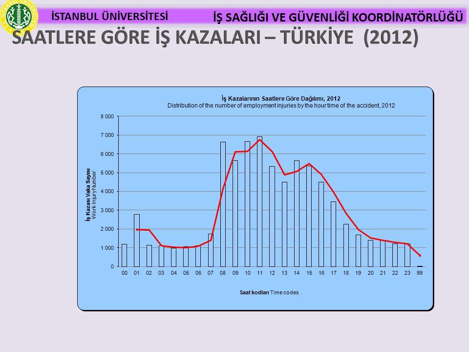SAATLERE GÖRE İŞ KAZALARI – TÜRKİYE (2012)
