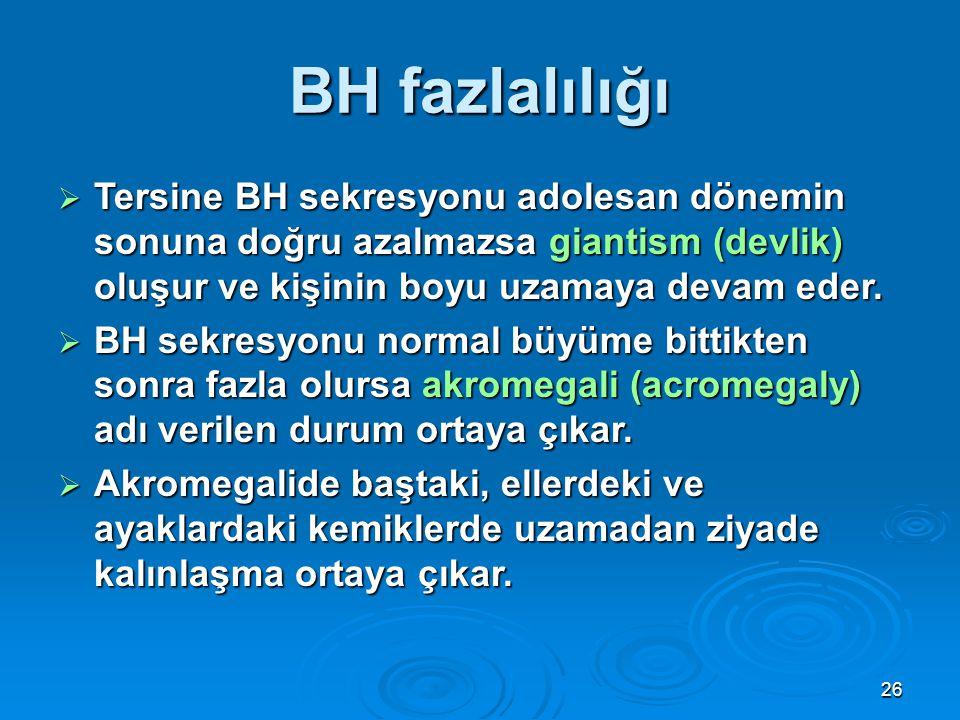 BH fazlalılığı Tersine BH sekresyonu adolesan dönemin sonuna doğru azalmazsa giantism (devlik) oluşur ve kişinin boyu uzamaya devam eder.