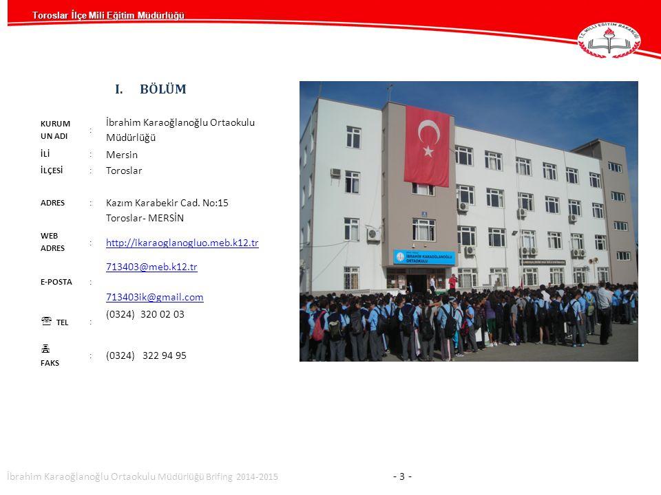 BÖLÜM İbrahim Karaoğlanoğlu Ortaokulu Müdürlüğü Mersin