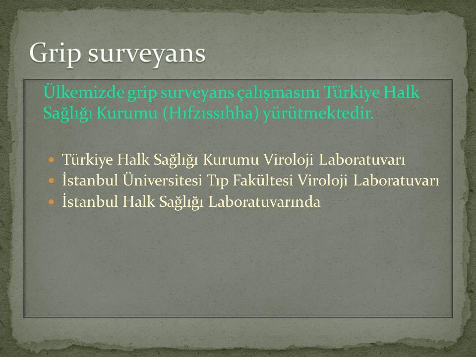 Grip surveyans Ülkemizde grip surveyans çalışmasını Türkiye Halk Sağlığı Kurumu (Hıfzıssıhha) yürütmektedir.