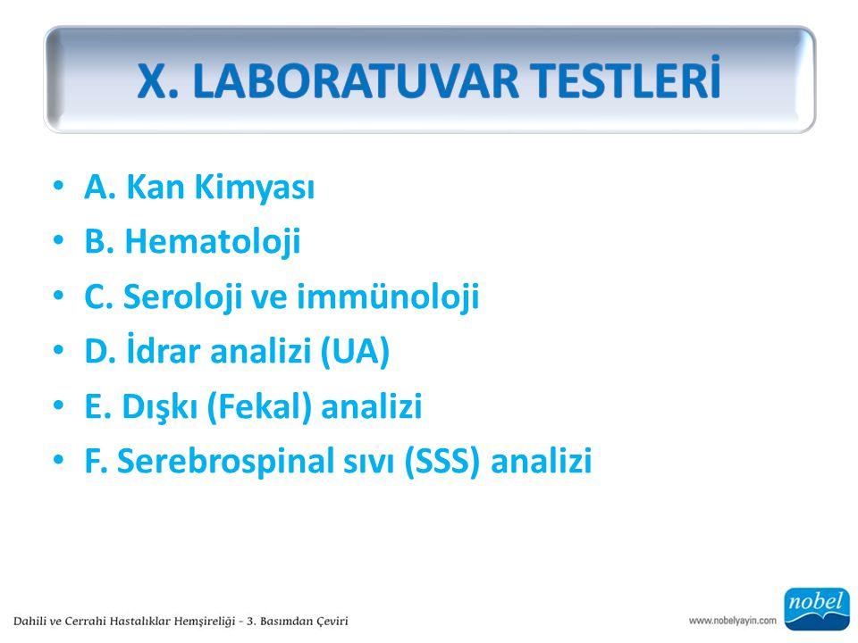 X. LABORATUVAR TESTLERİ