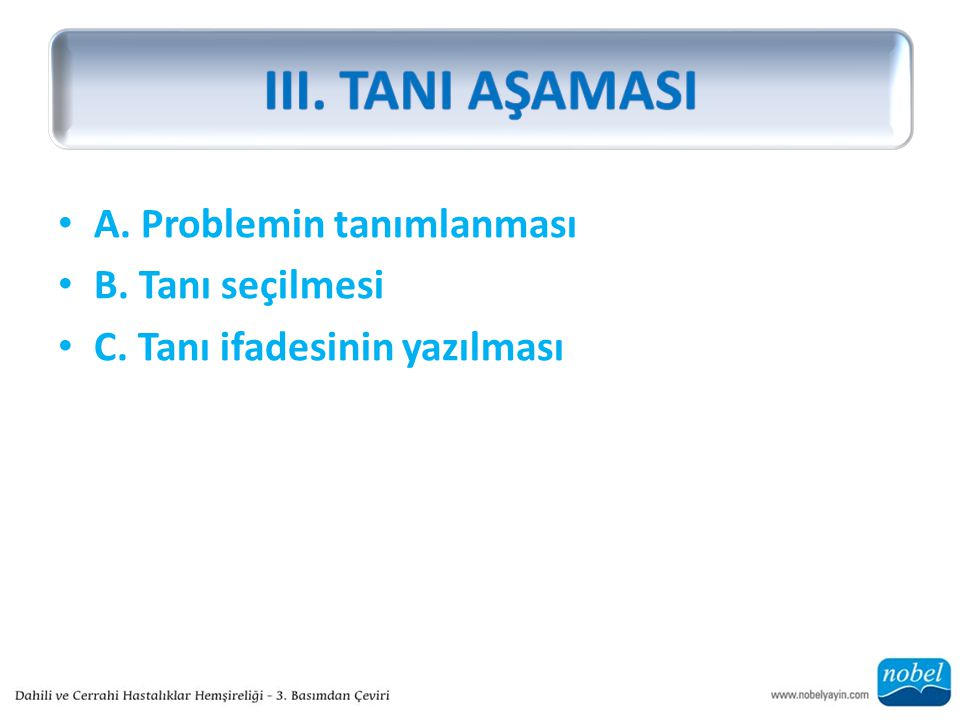 III. TANI AŞAMASI A. Problemin tanımlanması B. Tanı seçilmesi