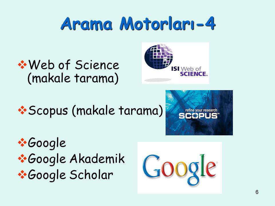Arama Motorları-4 Web of Science (makale tarama)