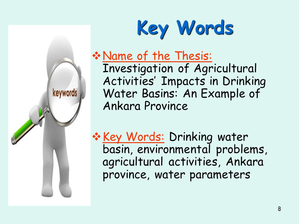 Key Words Name of the Thesis: Investigation of Agricultural Activities' Impacts in Drinking Water Basins: An Example of Ankara Province.