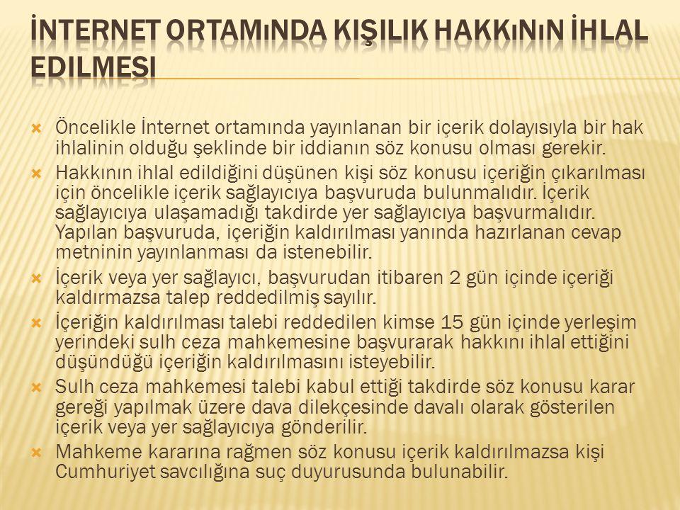 İnternet Ortamında Kişilik Hakkının İhlal Edilmesi