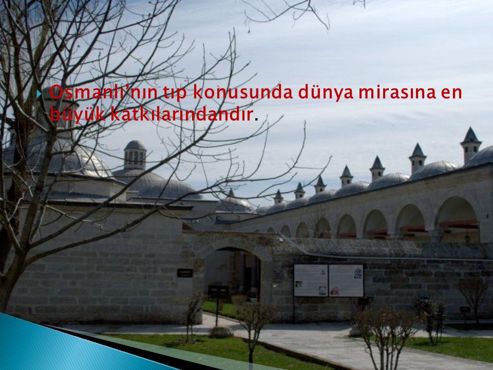 Osmanlı'nın tıp konusunda dünya mirasına en büyük katkılarındandır.