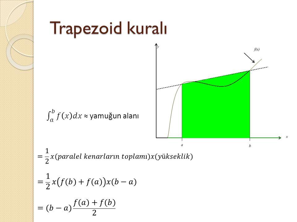 Trapezoid kuralı 𝑎 𝑏 𝑓 𝑥 𝑑𝑥 ≈ yamuğun alanı