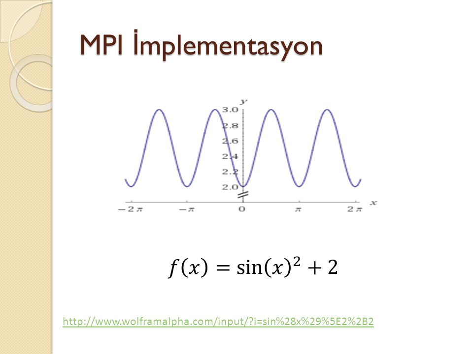 MPI İmplementasyon 𝑓 𝑥 = sin 𝑥 2 +2
