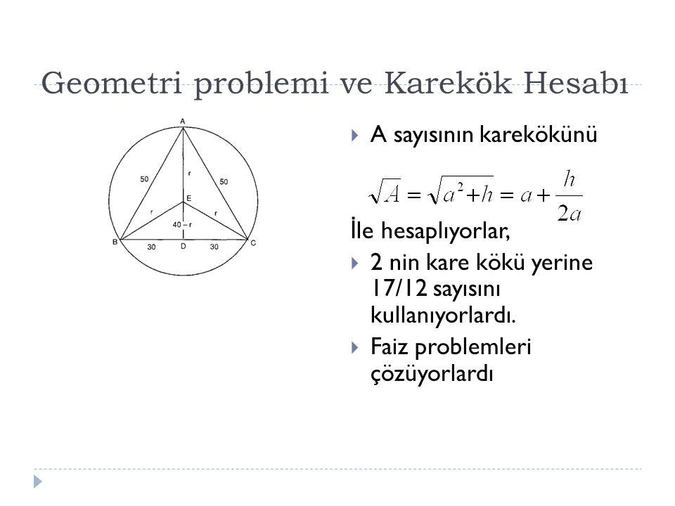 Geometri problemi ve Karekök Hesabı