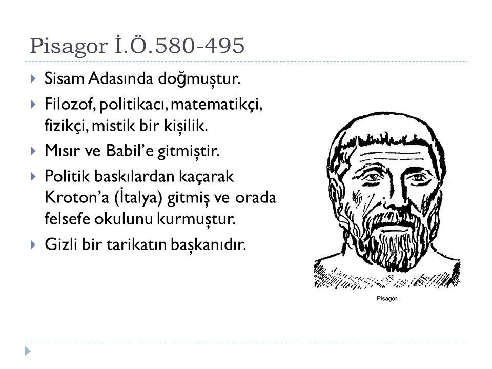 Pisagor İ.Ö.580-495 Sisam Adasında doğmuştur.