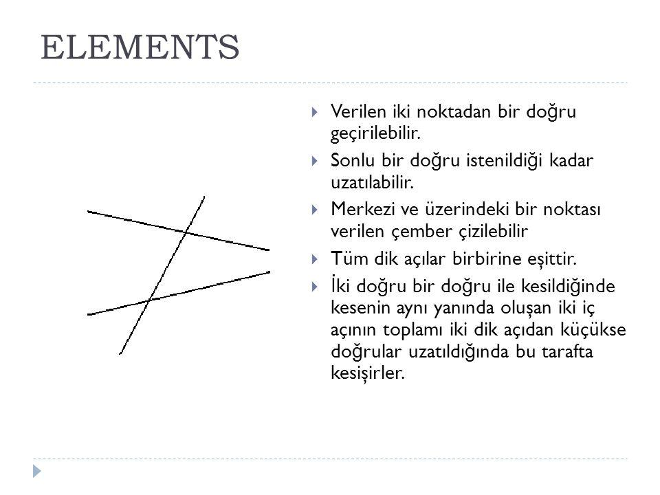 ELEMENTS Verilen iki noktadan bir doğru geçirilebilir.