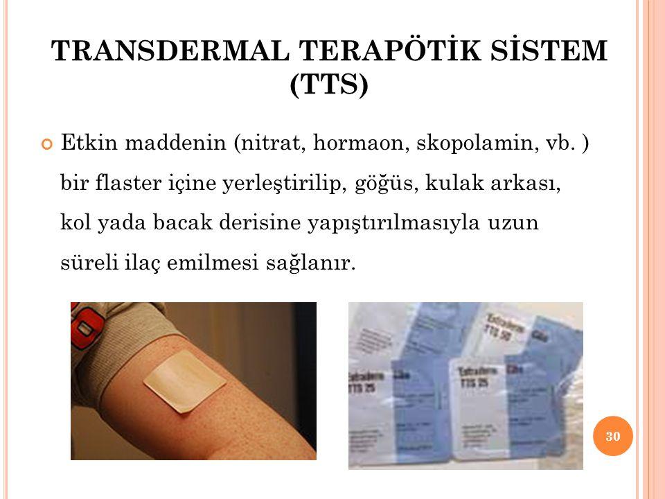 TRANSDERMAL TERAPÖTİK SİSTEM (TTS)
