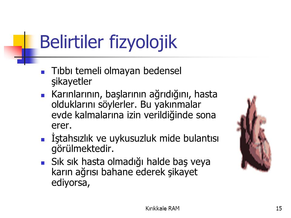 Belirtiler fizyolojik