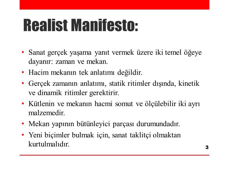 Realist Manifesto: Sanat gerçek yaşama yanıt vermek üzere iki temel öğeye dayanır: zaman ve mekan. Hacim mekanın tek anlatımı değildir.