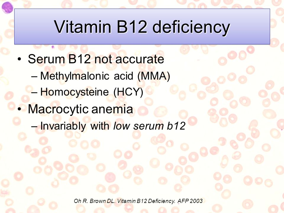 Oh R. Brown DL. Vitamin B12 Deficiency. AFP 2003