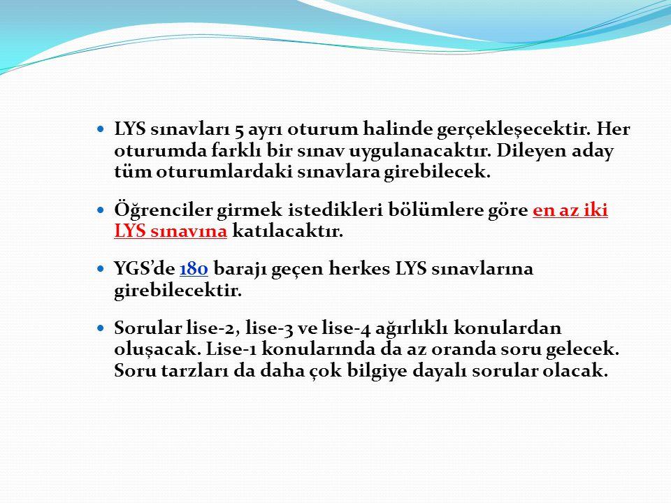 LYS sınavları 5 ayrı oturum halinde gerçekleşecektir