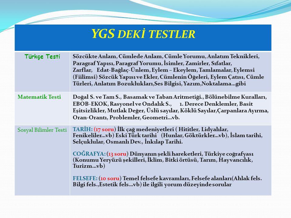 YGS DEKİ TESTLER Türkçe Testi
