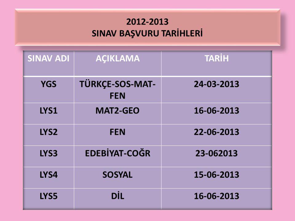 2012-2013 SINAV BAŞVURU TARİHLERİ