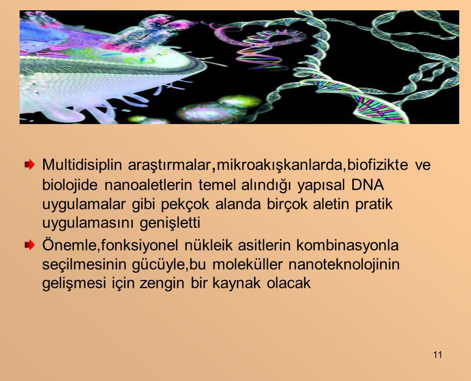 Multidisiplin araştırmalar,mikroakışkanlarda,biofizikte ve biolojide nanoaletlerin temel alındığı yapısal DNA uygulamalar gibi pekçok alanda birçok aletin pratik uygulamasını genişletti