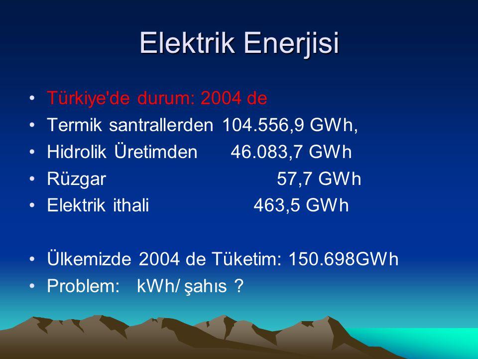 Elektrik Enerjisi Türkiye de durum: 2004 de