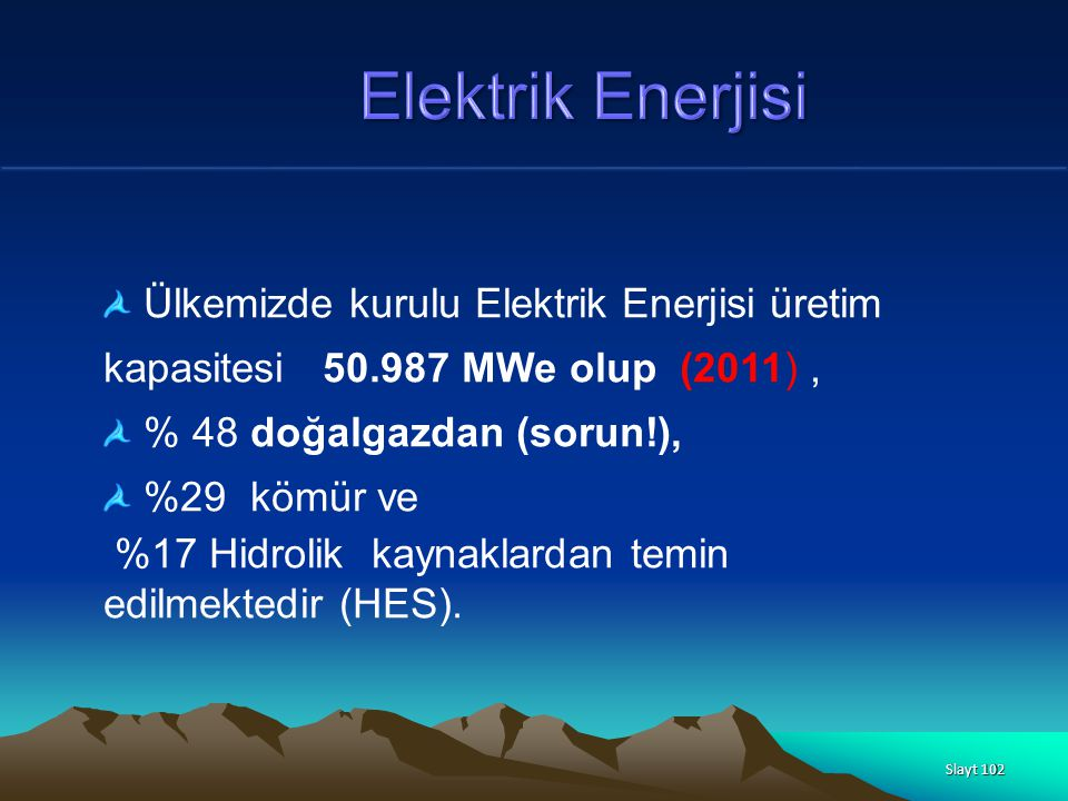 Elektrik Enerjisi Ülkemizde kurulu Elektrik Enerjisi üretim kapasitesi 50.987 MWe olup (2011) , % 48 doğalgazdan (sorun!),
