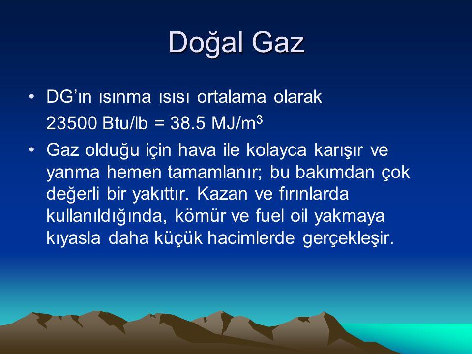 Doğal Gaz DG'ın ısınma ısısı ortalama olarak 23500 Btu/lb = 38.5 MJ/m3