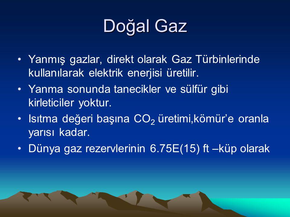 Doğal Gaz Yanmış gazlar, direkt olarak Gaz Türbinlerinde kullanılarak elektrik enerjisi üretilir.