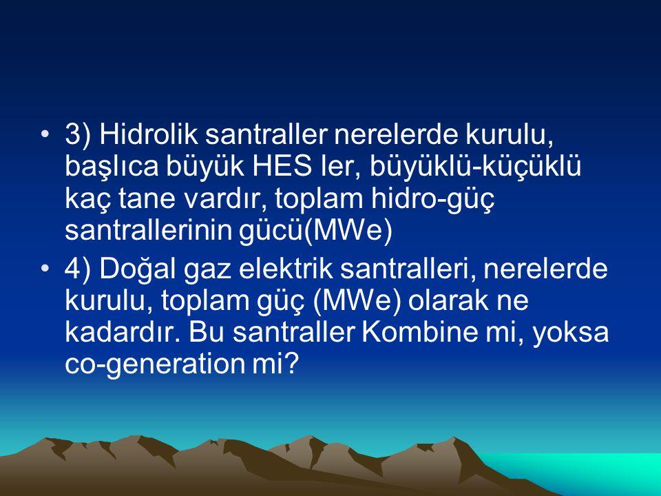 3) Hidrolik santraller nerelerde kurulu, başlıca büyük HES ler, büyüklü-küçüklü kaç tane vardır, toplam hidro-güç santrallerinin gücü(MWe)