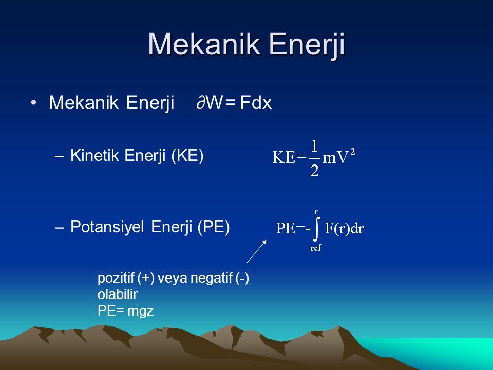Mekanik Enerji Mekanik Enerji ∂W= Fdx Kinetik Enerji (KE)