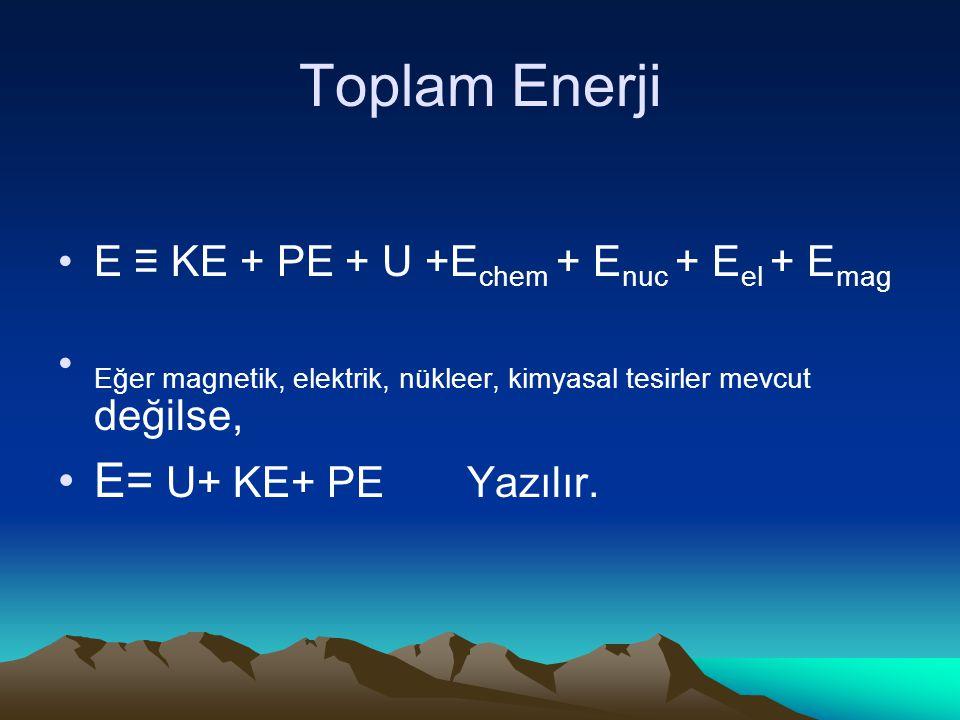 Toplam Enerji E= U+ KE+ PE Yazılır.